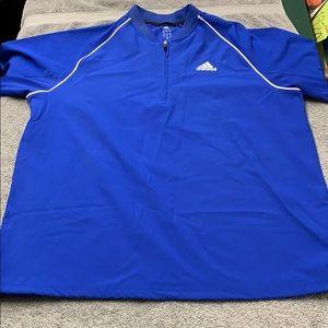 Adidas blue lightweight 1/4 zip shirt XL